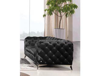Divani Casa Delilah - Modern Black Fabric Loveseat