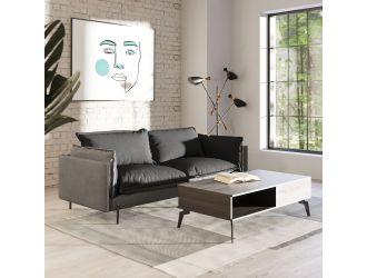 Divani Casa Mars - Modern Grey & Dark Grey Fabric Sofa