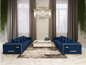 Divani Casa Mobray - Glam Blue & Gold Fabric Sofa
