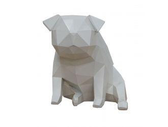 Modrest Dog - Geometric White Sculpture