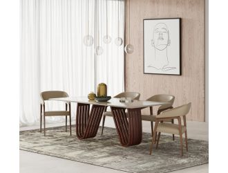 Modrest Draper - MId-Century Marble and Walnut Dining Table