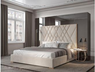 Modrest Eldora - Glam Beige Velvet and Brushed Brass Bed