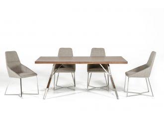 Modrest Stark Modern Walnut & Stainless Steel Dining Table