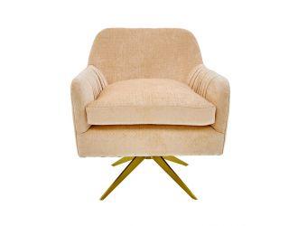 Divani Casa Abigail Modern Peach Velvet Swivel Accent Chair
