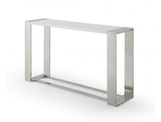 Modrest Fauna - Modern White High Gloss & Stainless Steel Console Table