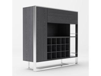 Modrest Fauna - Elm Grey & Stainless Steel Wine Cabinet