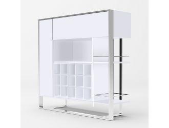 Modrest Fauna - Modern White & Stainless Steel Wine Cabinet