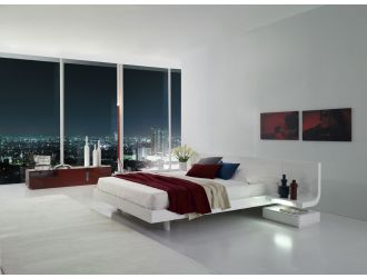 Firenze White Lacquer Platform Bed with Built in Nightstands  & LED Lights