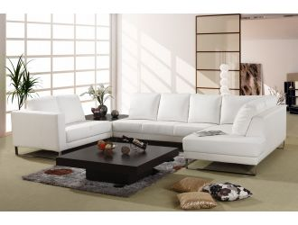 3002 White Leather Sectional Sofa