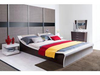 Geneva Contemporary Grey Platform Queen Bed w/ Lights