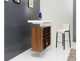 Modrest Sven Contemporary White & Walnut Floating Bar Table