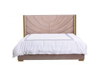 Eastern King Divani Casa Visalia Modern Beige Velvet & Gold Bed
