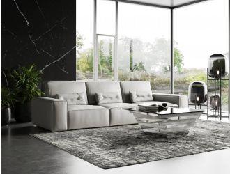 Coronelli Collezioni Hollywood - Italian Grey Maya Cloud Leather Sectional Sofa