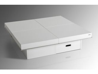 Horizon  - Modern White Crocodile Coffee Table w/ Pull Out Squares