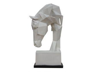 Modrest Horse - Geometric White Sculpture