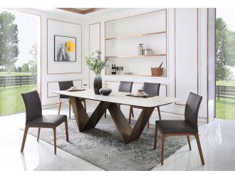 Modrest Melanie - Modern White Ceramic & Brushed Brown Dining Table