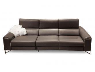 Estro Milano Elite Italian Modern Grey Leather Sofa w/ Recliners