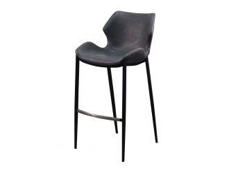 Modrest Ithaca - Industrial Dark Grey Eco-Leather Bar Stool (Set of 2)