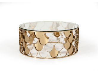 Modrest Javier Modern Glass & Gold Round Coffee Table