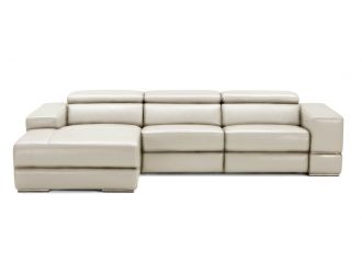 Divani Casa Hilgard - Modern Light Grey Leather Left Facing Sectional Sofa with Recliners