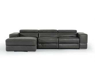 Divani Casa Hilgard - Modern Dark Grey Leather Left Facing Sectional Sofa with Recliner