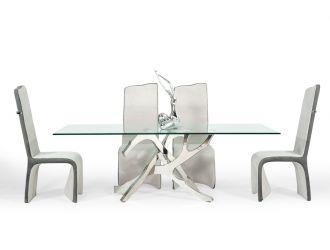 Modrest Legend Modern Glass & Stainless Steel Dining Table