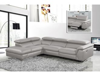 Divani Casa Maine - Modern Medium Grey Eco-Leather Left Facing Sectional Sofa with Recliner