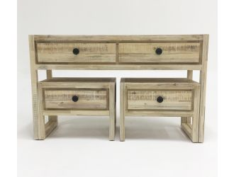 Modrest Mandy Modern White Washed Acacia Console & End Table Set