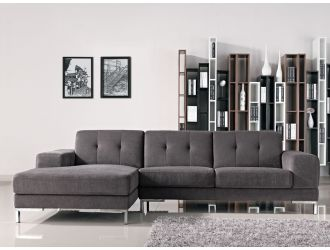 Divani Casa Forli - Modern Grey Fabric Left Facing Sectional Sofa