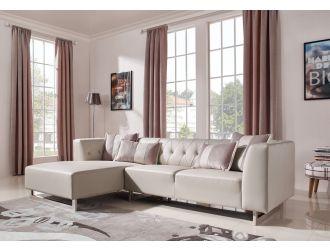Divani Casa Carolina - Modern Grey Leatherette + Fabric Left Facing Sectional Sofa