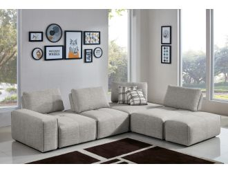 Divani Casa Platte - Modern Grey Fabric Modular Sectional Sofa