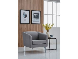 Divani Casa Preston Contemporary Grey Fabric Lounge Chair