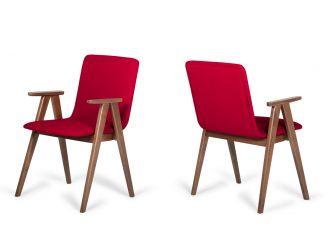Maddox - Modern Red & Walnut Dining Chair (Set of 2)