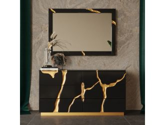 Modrest Aspen - Modern Black and Gold Dresser