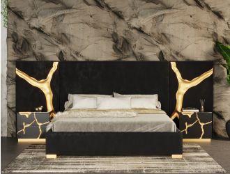 Modrest Aspen - Glam Black Velvet & Gold Bed