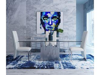 Modrest Edwin Modern Glass & Stainless Steel Dining Table