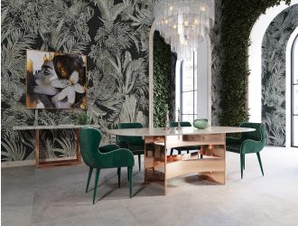 Modrest Marmot - White Marble and Rose Gold Dining Table