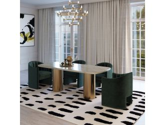 Modrest Rocky - Glam White Marble & Brush Gold Dining Table