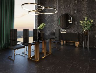 Modrest Token Modern Smoked Grey Glass & Rosegold Dining Table