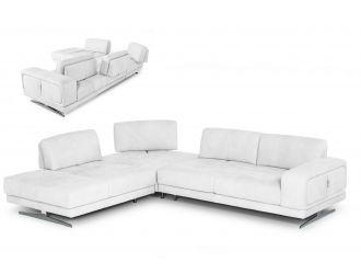Coronelli Collezioni Mood - Italian White Leather Left Facing Sectional Sofa