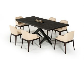 Modrest Moore Modern Aged Oak Live Edge Dining Table