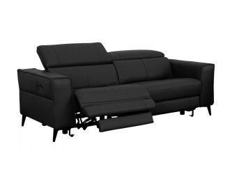 Divani Casa Nella - Modern Black Leather 3-Seater Sofa w/ Electric Recliners