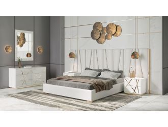 Modrest Nixa - Modern White + Gold Bed + Nightstands