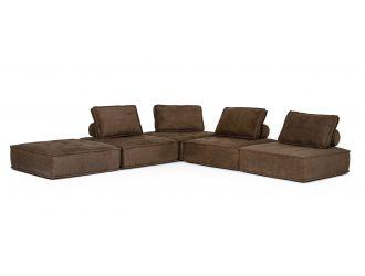 Divani Casa Nolden - Modern Brown Fabric Modular Sectional Sofa