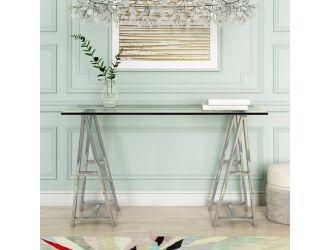 Modrest Ostro - Modern Stainless Steel + Glass Desk