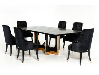 A&X Padua Modern Large Black Crocodile & Rosegold Dining Table