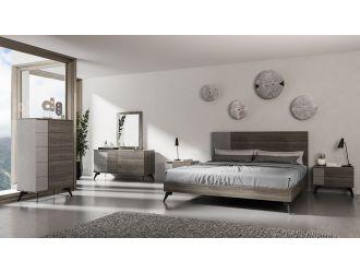 Nova Domus Palermo Italian Modern Faux Concrete & Grey Bedroom Set