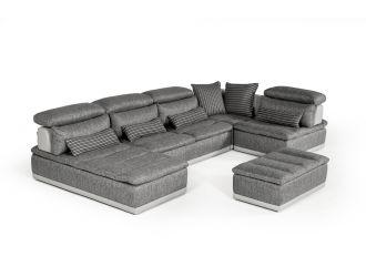 David Ferrari Panorama - Italian Modern Grey Fabric + Grey Leather Modular Sectional Sofa