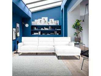 Divani Casa Paraiso - Modern White Fabric Right Facing Sectional Sofa
