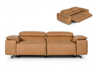 Estro Salotti Blossom Modern Cognac Leather Dual Reclining Sofa